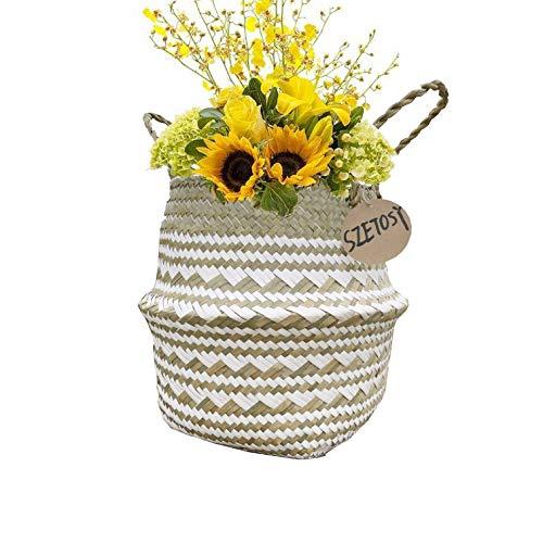 Natürlicher Seegraskorb mit dekorativen Muster, Wäschekorb, Blumenkorb.