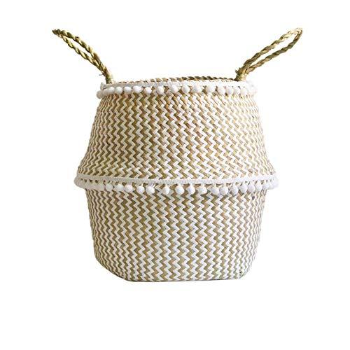 Faltbarer Aufbewahrungskorb, Wäschekorb aus Seegras Seite mit Flusen, Boho Style.