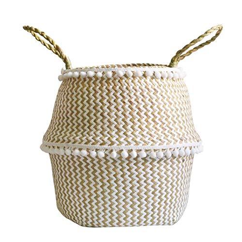 Seegraskorb mit dekorativen Bommeln ,faltbar & Multifunktional