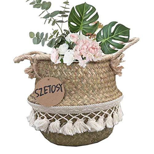 SZETOSY Goodchanceuk Aufbewahrungskorb aus natürlichem Seegras, Bauchkorb mit Pompom, faltbar.